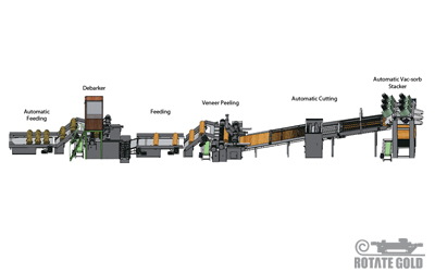 Veneer peeling production line for 8 feet ( Vac-sorb )